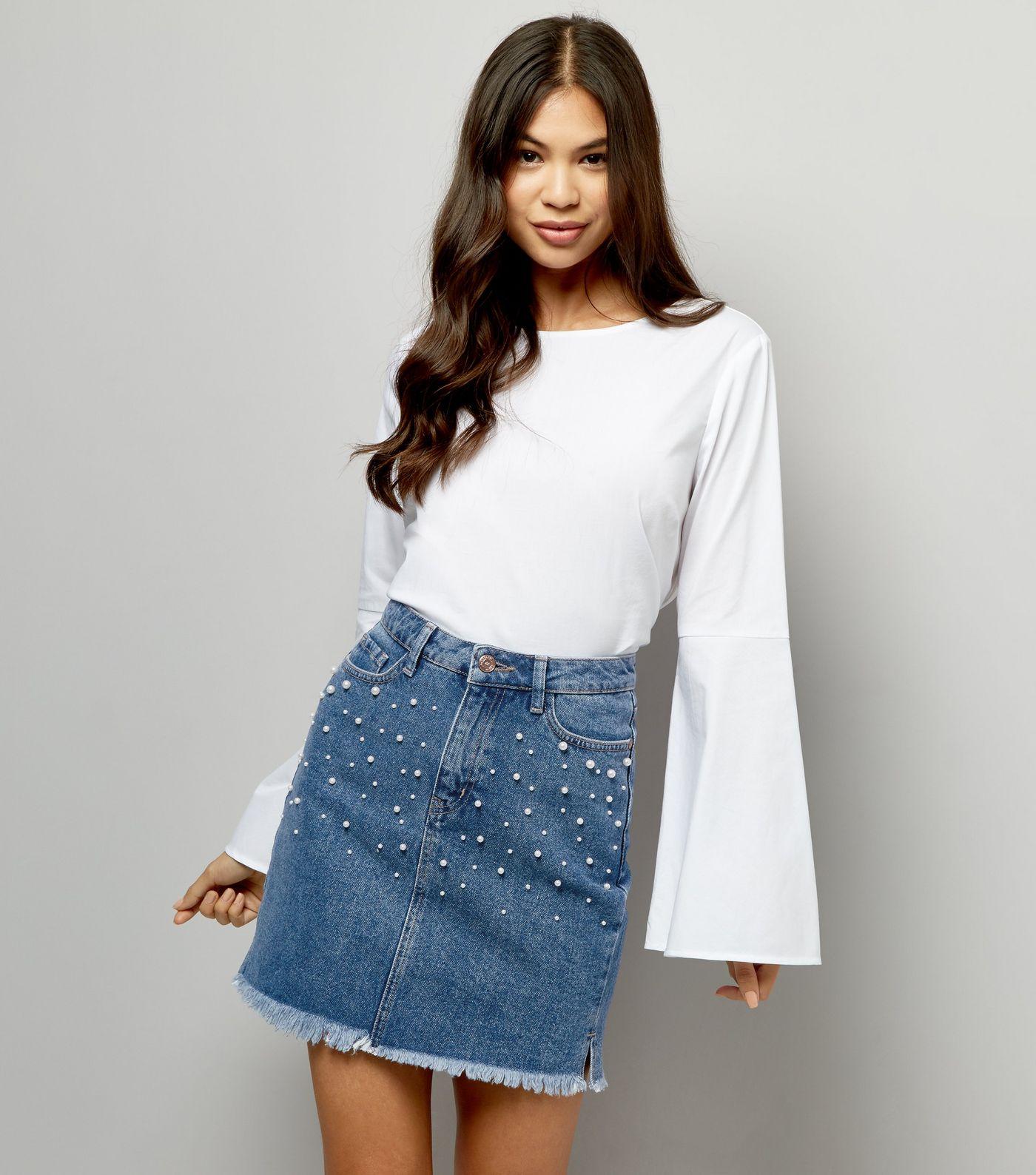 blue-pearl-embellished-denim-skirt
